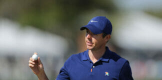 ORLANDO, FLORIDA - MARCH 07: Rory McIlory of Northern Ireland waves on the ninth hole during the first round of the Arnold Palmer Invitational Presented by Mastercard at the Bay Hill Club on March 07, 2019 in Orlando, Florida. (Photo by Richard Heathcote/Getty Images)