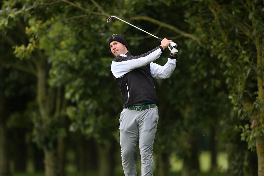 Former Ulster, Ireland and Lions backrow Stephen Ferris in action on the fairways