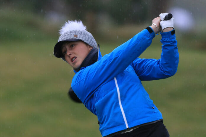 Ffion Tynan (WAL) on the 1st tee during Round 1 of the Irish Girls U18 Open Stroke Play Championship at Roganstown Golf & Country Club, Dublin, Ireland. 05/04/19 Picture: Thos Caffrey / www.golffile.ie